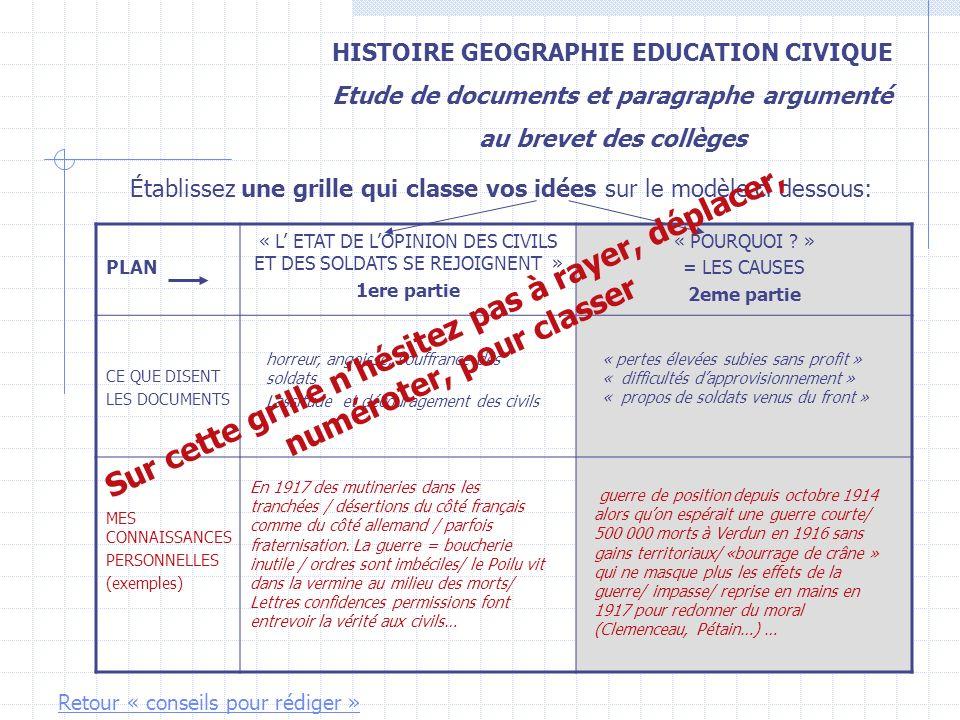 HISTOIRE GEOGRAPHIE EDUCATION CIVIQUE Etude de documents et paragraphe argumenté au brevet des collèges Établissez une grille qui classe vos idées sur