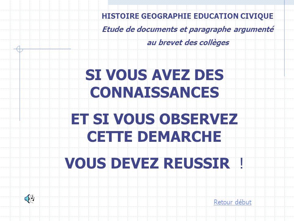 HISTOIRE GEOGRAPHIE EDUCATION CIVIQUE Etude de documents et paragraphe argumenté au brevet des collèges SI VOUS AVEZ DES CONNAISSANCES ET SI VOUS OBSE