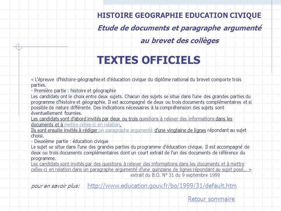 HISTOIRE GEOGRAPHIE EDUCATION CIVIQUE Etude de documents et paragraphe argumenté au brevet des collèges « L'épreuve d'histoire-géographie et d'éducati