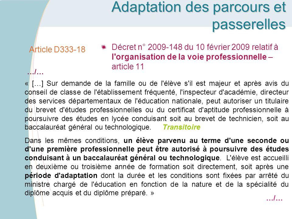Article D333-18 Décret n° 2009-148 du 10 février 2009 relatif à l'organisation de la voie professionnelle – article 11 « […] Sur demande de la famille