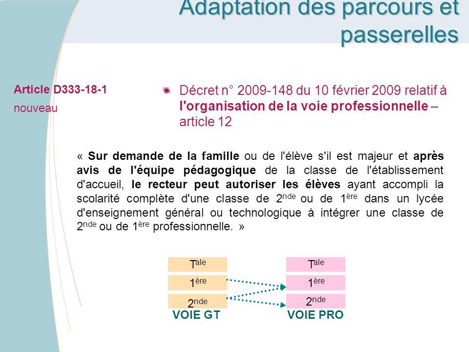 Article D333-18-1 nouveau Décret n° 2009-148 du 10 février 2009 relatif à l'organisation de la voie professionnelle – article 12 « Sur demande de la f