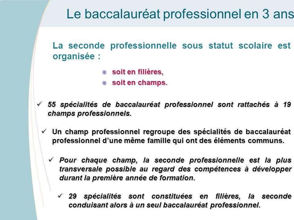 Le baccalauréat professionnel en 3 ans La seconde professionnelle sous statut scolaire est organisée : soit en filières, soit en champs. Un champ prof