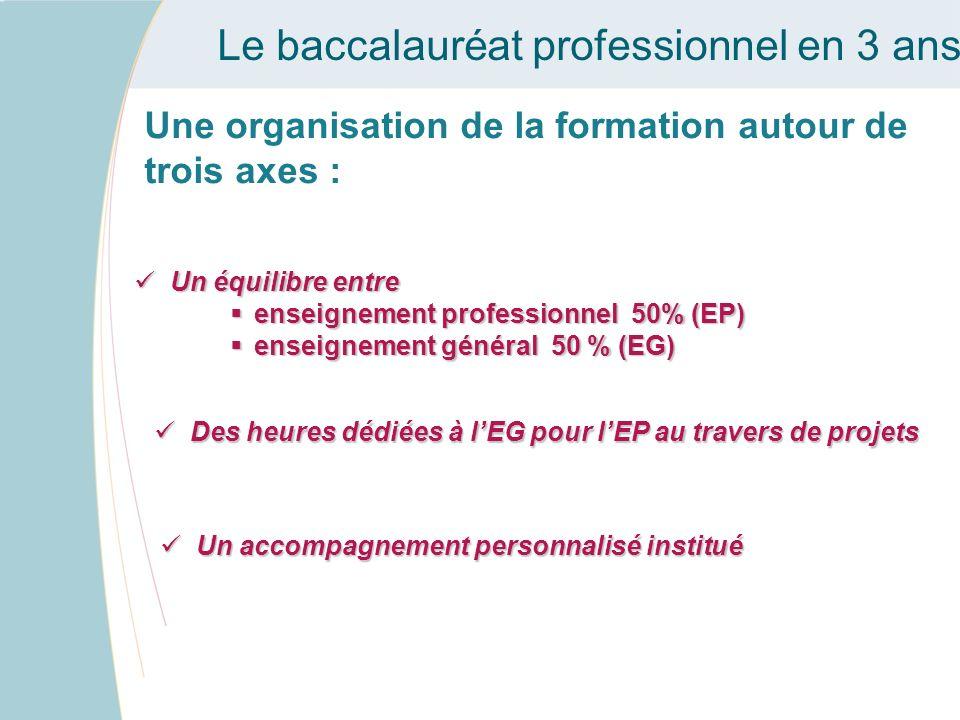 Le baccalauréat professionnel en 3 ans Une organisation de la formation autour de trois axes : Un équilibre entre Un équilibre entre enseignement prof