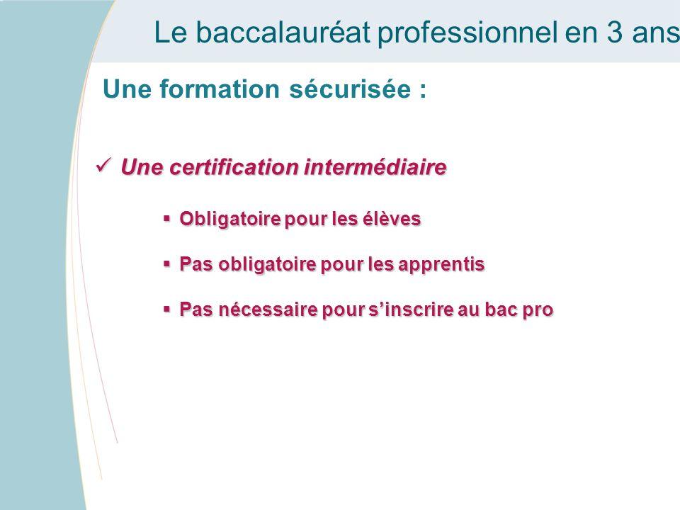 Le baccalauréat professionnel en 3 ans Une formation sécurisée : Une certification intermédiaire Une certification intermédiaire Obligatoire pour les