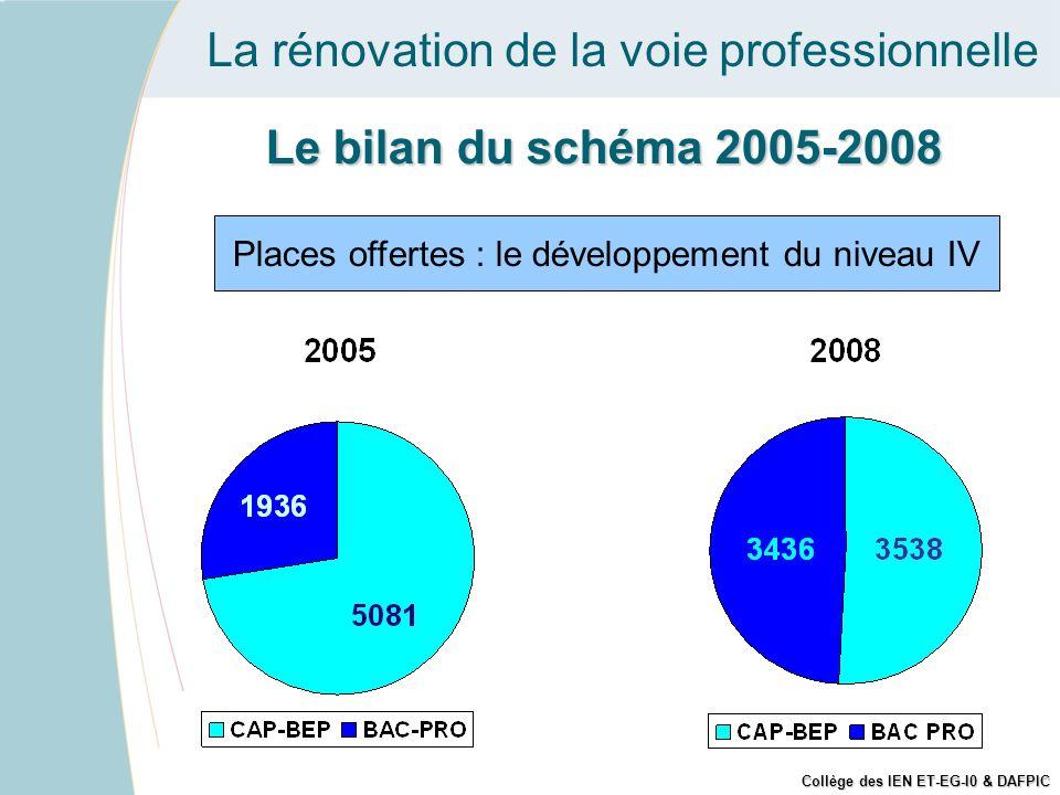 La rénovation de la voie professionnelle Places offertes : le développement du niveau IV Le bilan du schéma 2005-2008 Collège des IEN ET-EG-I0 & DAFPI