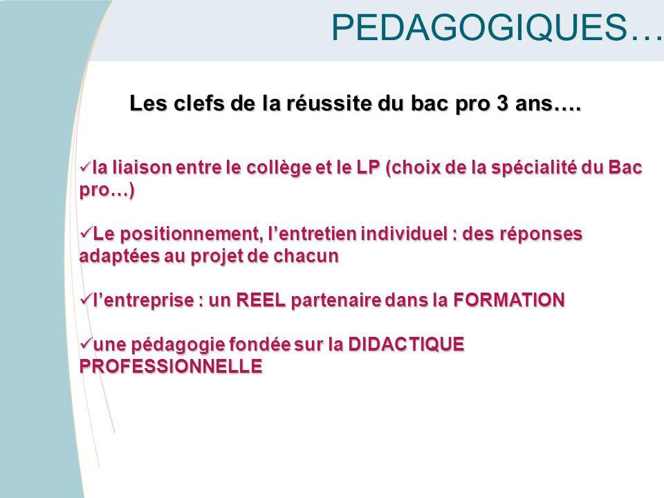 LES ENJEUX PEDAGOGIQUES… Les clefs de la réussite du bac pro 3 ans…. la liaison entre le collège et le LP (choix de la spécialité du Bac pro…) la liai