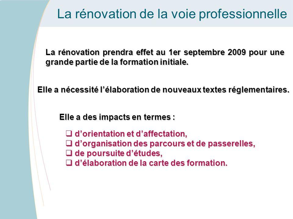 La rénovation de la voie professionnelle La rénovation prendra effet au 1er septembre 2009 pour une grande partie de la formation initiale. Elle a néc