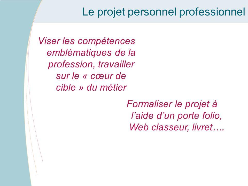 Viser les compétences emblématiques de la profession, travailler sur le « cœur de cible » du métier Le projet personnel professionnel Formaliser le pr