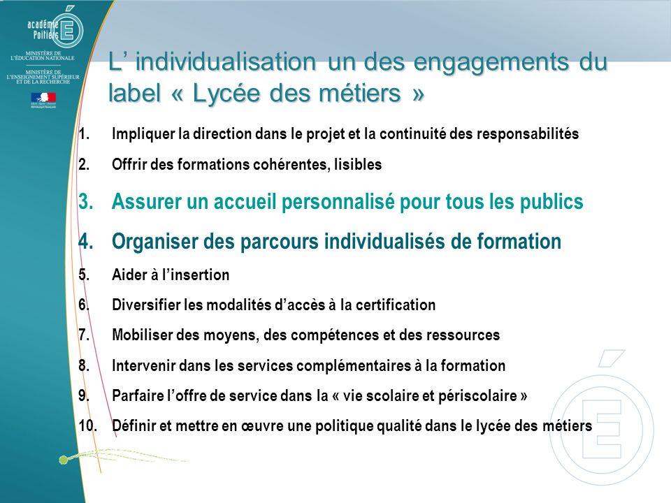 L individualisation un des engagements du label « Lycée des métiers » 1.Impliquer la direction dans le projet et la continuité des responsabilités 2.O