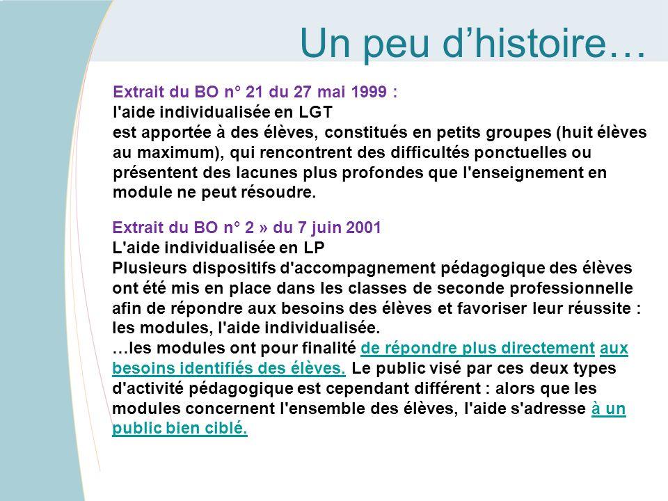 Un peu dhistoire… Extrait du BO n° 21 du 27 mai 1999 : l'aide individualisée en LGT est apportée à des élèves, constitués en petits groupes (huit élèv