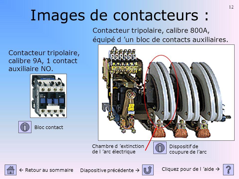 12 Images de contacteurs : Cliquez pour de l aide Retour au sommaire Diapositive précédente Contacteur tripolaire, calibre 9A, 1 contact auxiliaire NO