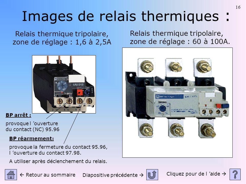 16 Images de relais thermiques : Relais thermique tripolaire, zone de réglage : 1,6 à 2,5A Relais thermique tripolaire, zone de réglage : 60 à 100A. C