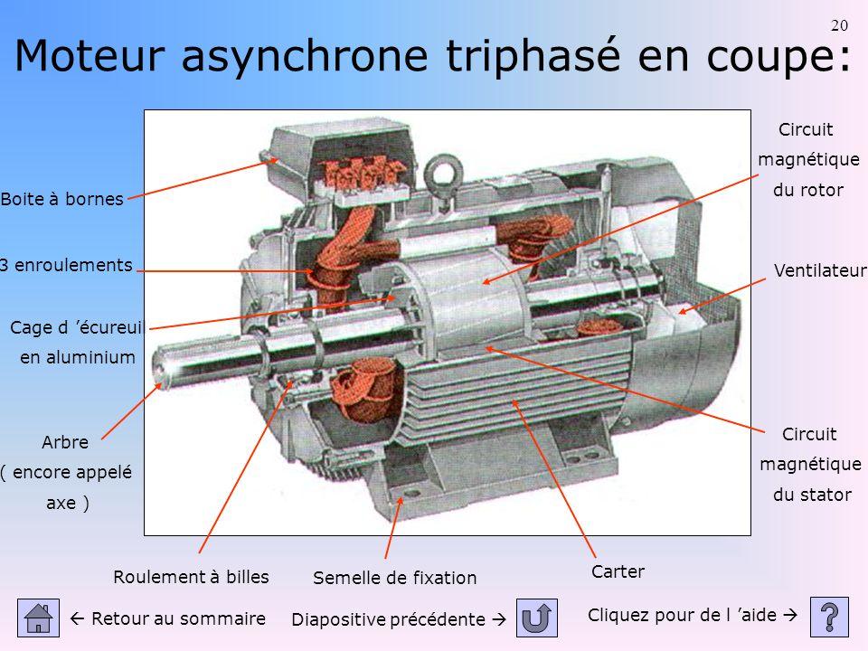 20 Moteur asynchrone triphasé en coupe: Cliquez pour de l aide Retour au sommaire Diapositive précédente Roulement à billes Carter Ventilateur Circuit