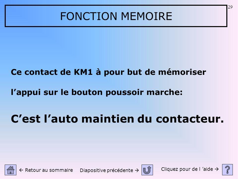 29 FONCTION MEMOIRE Ce contact de KM1 à pour but de mémoriser lappui sur le bouton poussoir marche: Cest lauto maintien du contacteur. Cliquez pour de