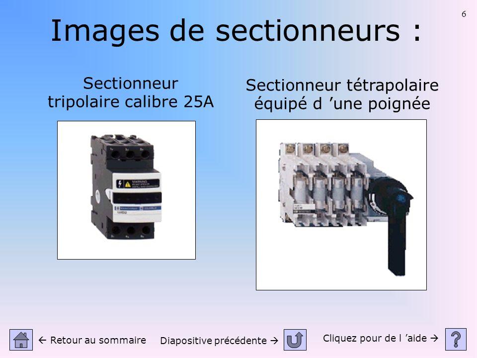 6 Images de sectionneurs : Sectionneur tripolaire calibre 25A Sectionneur tétrapolaire équipé d une poignée Cliquez pour de l aide Retour au sommaire