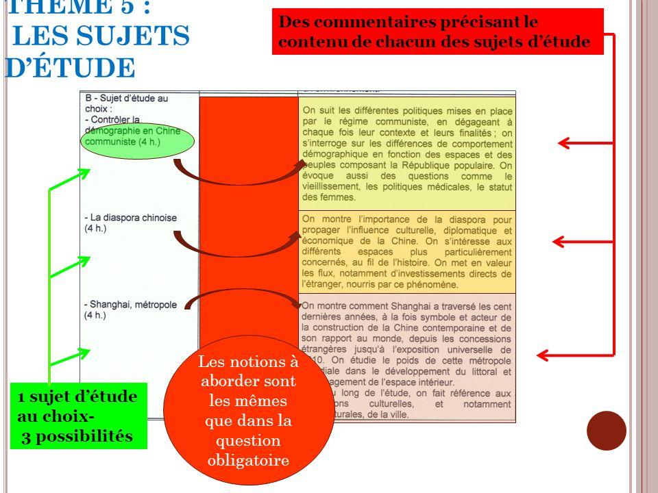THÈME 5 : LES SUJETS DÉTUDE 1 sujet détude au choix- 3 possibilités Des commentaires précisant le contenu de chacun des sujets détude Les notions à ab
