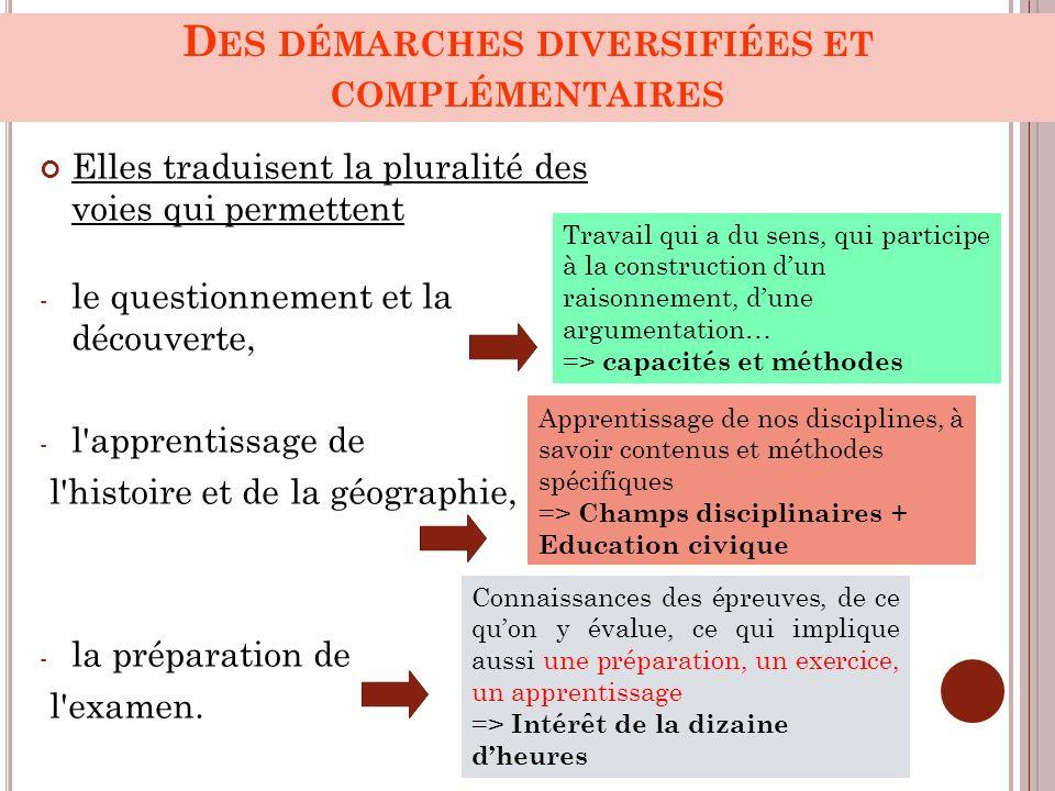 D ES DÉMARCHES DIVERSIFIÉES ET COMPLÉMENTAIRES Elles traduisent la pluralité des voies qui permettent - le questionnement et la découverte, - l'appren