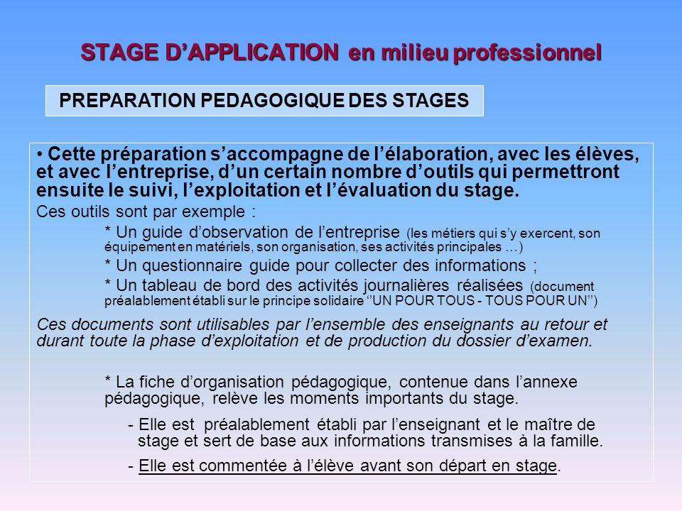 STAGE DAPPLICATION en milieu professionnel Le stage représente une situation de rupture.