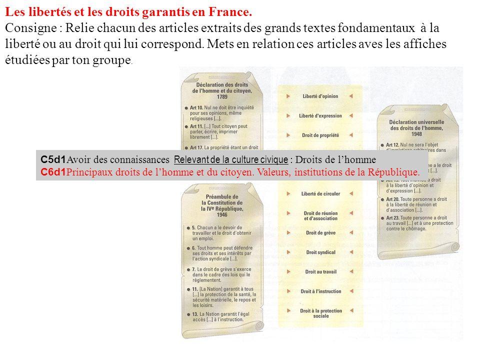 Les libertés et les droits garantis en France. Consigne : Relie chacun des articles extraits des grands textes fondamentaux à la liberté ou au droit q