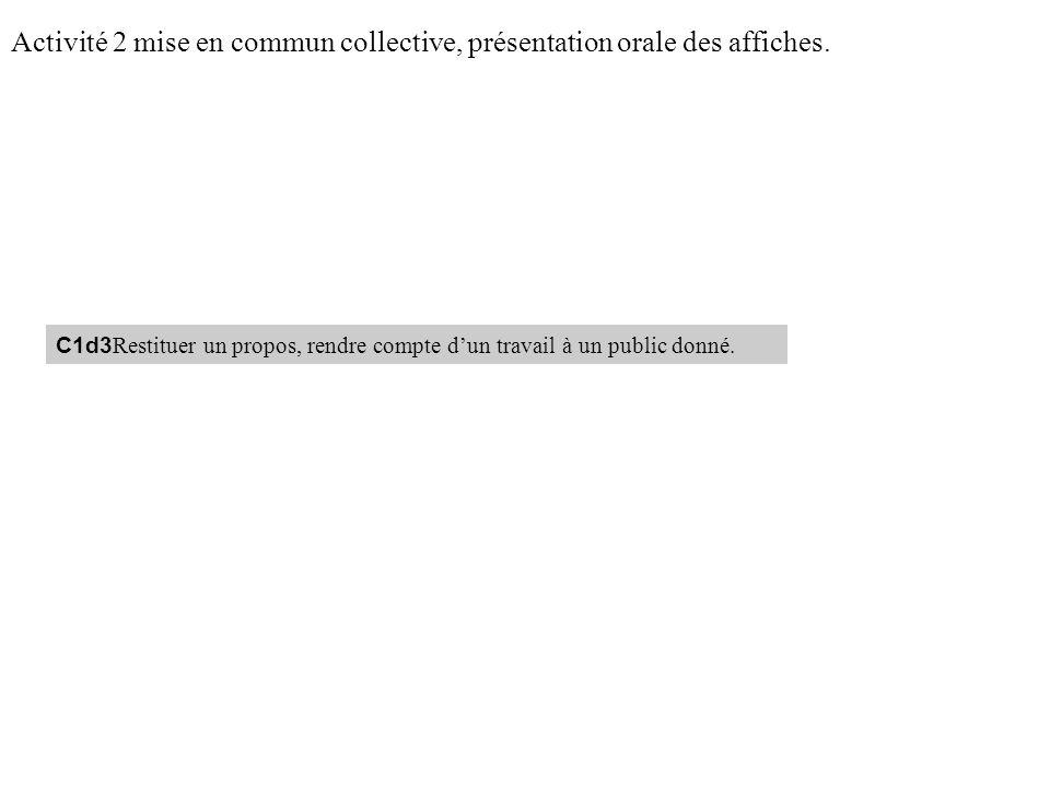 Activité 2 mise en commun collective, présentation orale des affiches. C1d3 Restituer un propos, rendre compte dun travail à un public donné.
