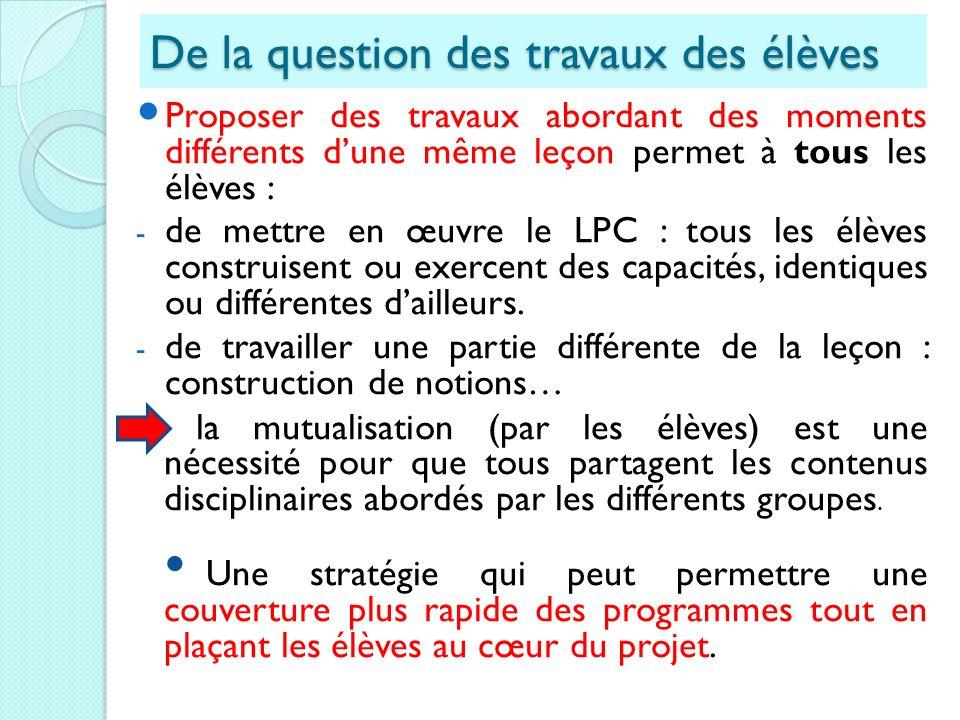 De la question des travaux des élèves Proposer des travaux abordant des moments différents dune même leçon permet à tous les élèves : - de mettre en œ