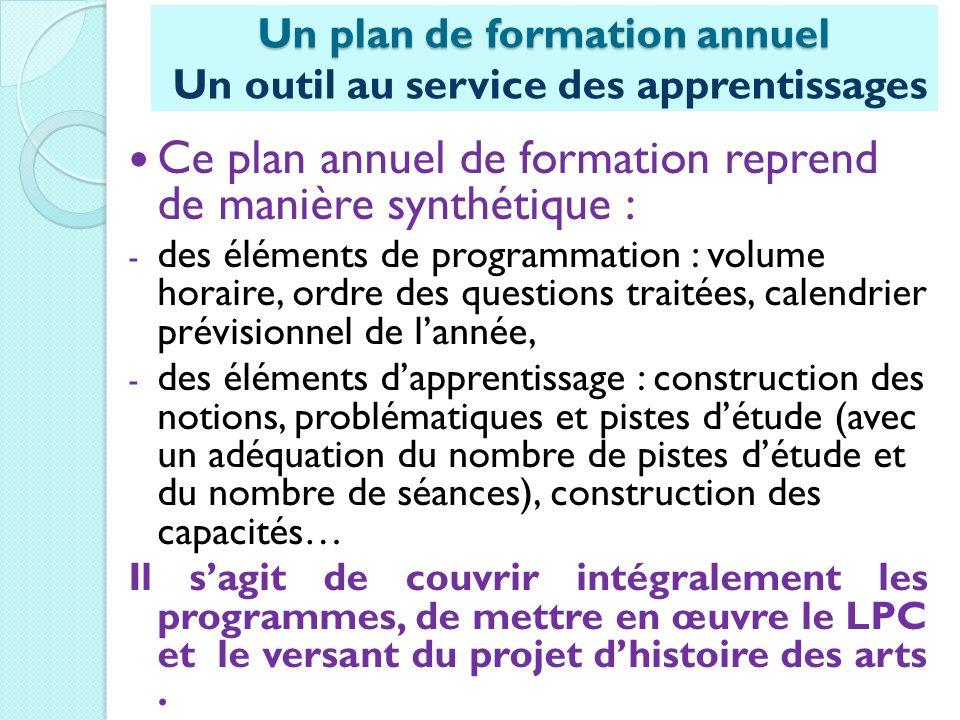 Ce plan annuel de formation reprend de manière synthétique : - des éléments de programmation : volume horaire, ordre des questions traitées, calendrie