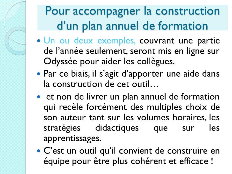 Pour accompagner la construction dun plan annuel de formation Un ou deux exemples, couvrant une partie de lannée seulement, seront mis en ligne sur Od