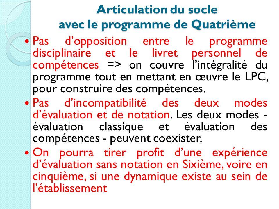 Articulation du socle avec le programme de Quatrième Pas dopposition entre le programme disciplinaire et le livret personnel de compétences => on couv