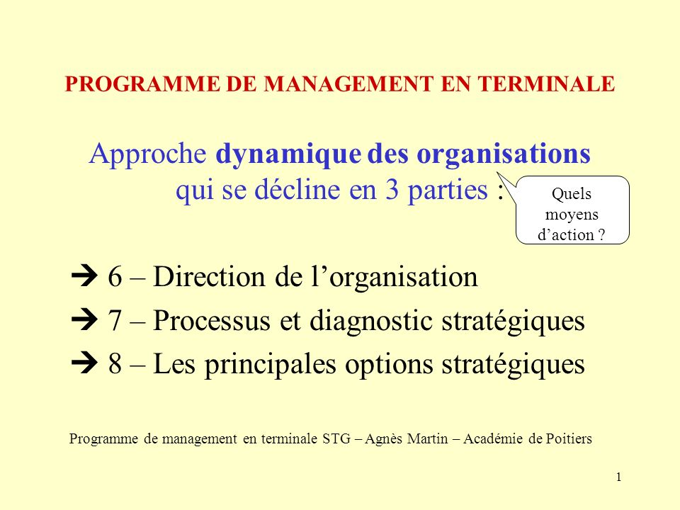 2 6 – Direction de lorganisation 6 – 1 – Diriger : finaliser, animer et contrôler 6 – 2 - Diversité des dirigeants et des styles de direction 6 – 3 – Les limites du pouvoir managérial xxx: Quels concepts .
