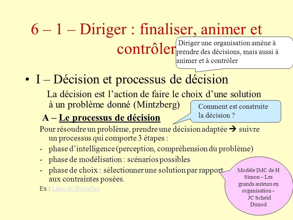 14 B – La démarche stratégique Diagnostic interne et externe Objectifs stratégiques Solutions et décision Mise en œuvre Contrôle de ladéquation entre objectifs et résultats Quelles sont les étapes qui mènent à la décision stratégique.