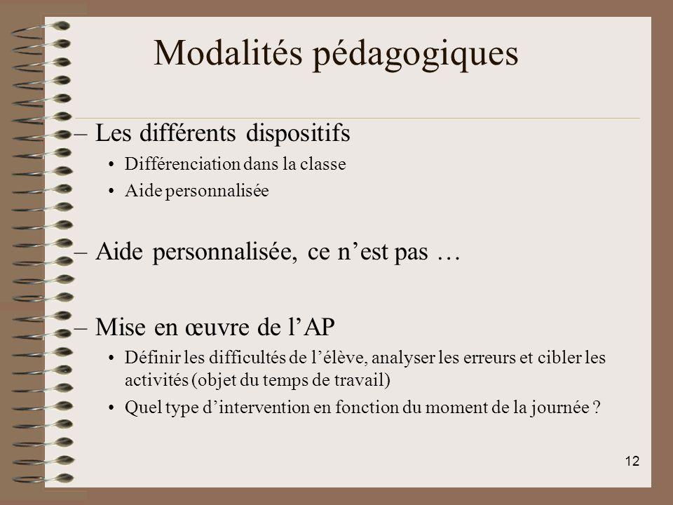 Modalités pédagogiques –Les différents dispositifs Différenciation dans la classe Aide personnalisée –Aide personnalisée, ce nest pas … –Mise en œuvre