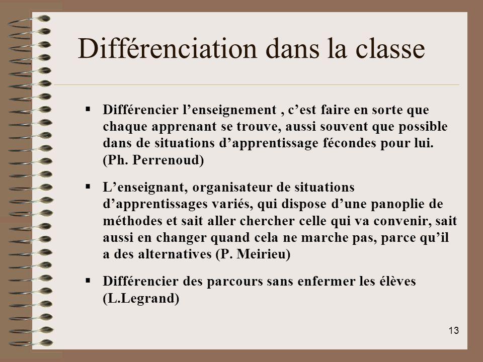 Différenciation dans la classe Différencier lenseignement, cest faire en sorte que chaque apprenant se trouve, aussi souvent que possible dans de situ