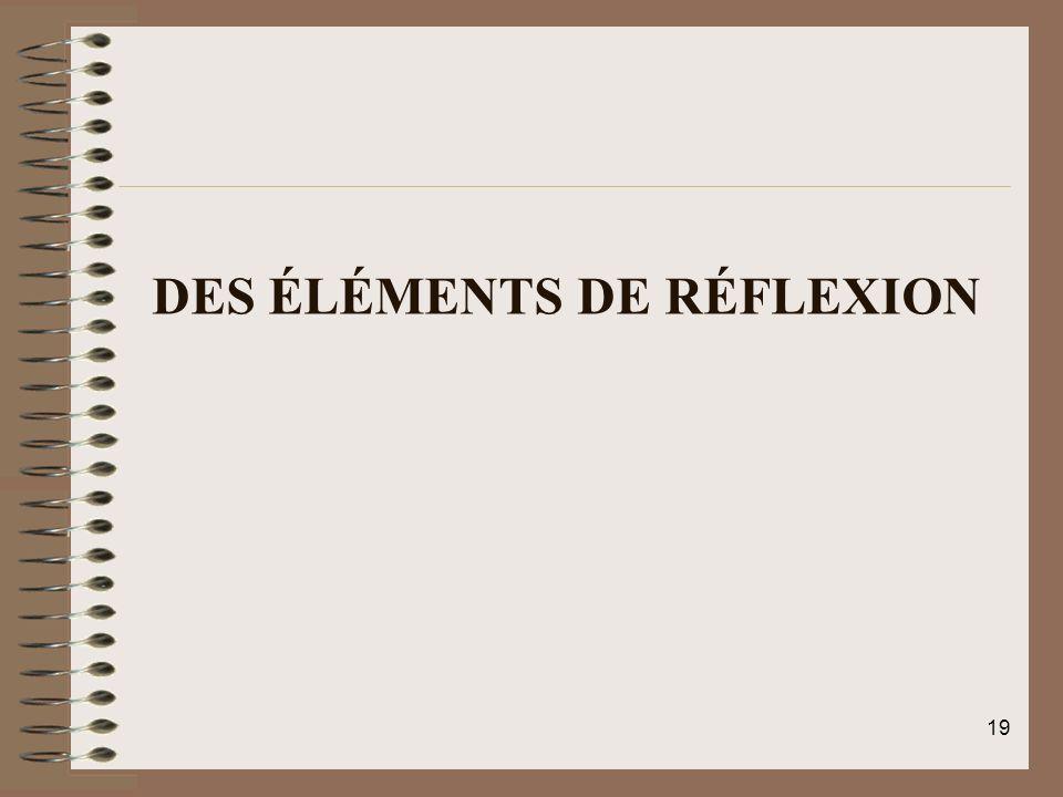 DES ÉLÉMENTS DE RÉFLEXION 19