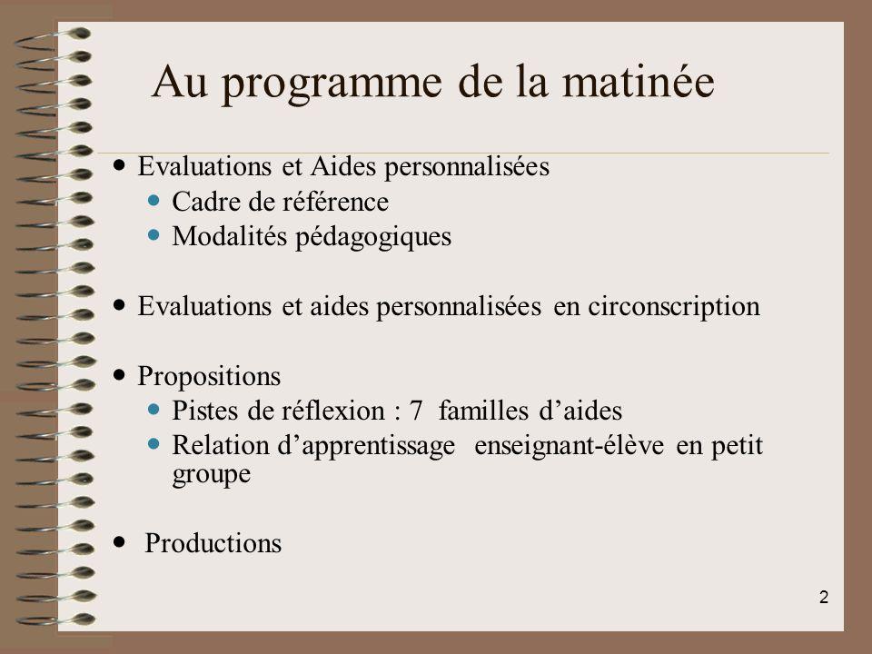 Au programme de la matinée PLAN Evaluations et Aides personnalisées Cadre de référence Modalités pédagogiques Evaluations et aides personnalisées en c