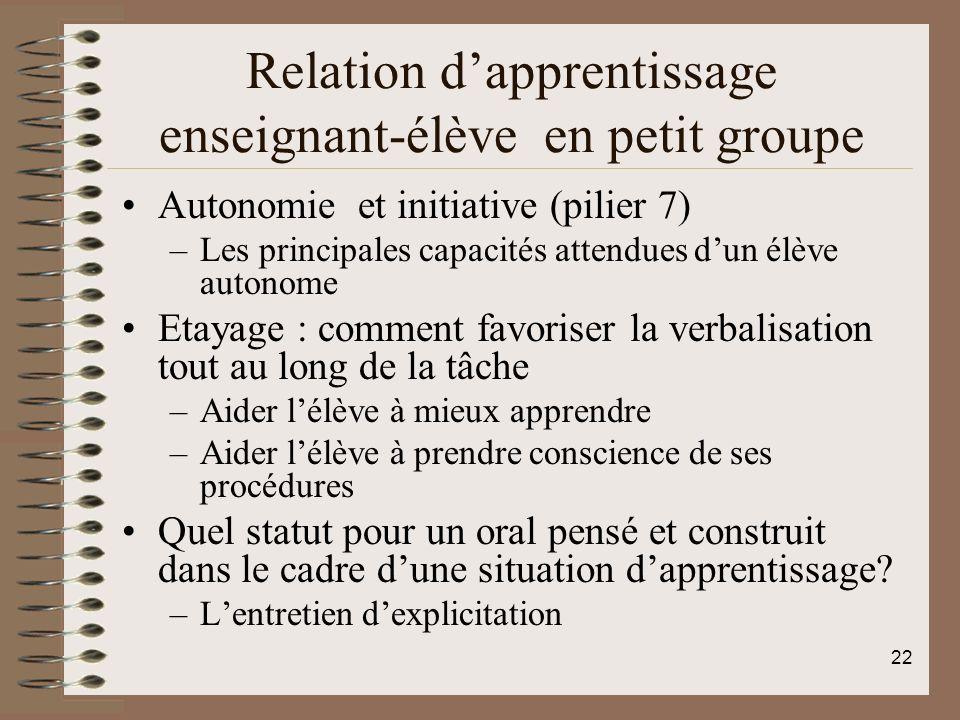 Relation dapprentissage enseignant-élève en petit groupe Autonomie et initiative (pilier 7) –Les principales capacités attendues dun élève autonome Et