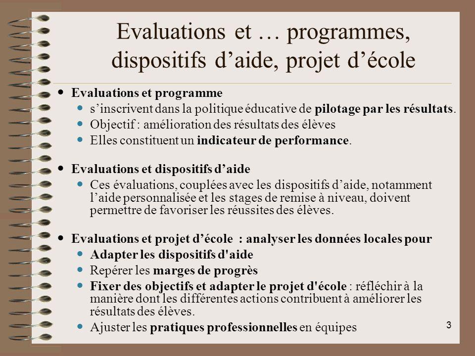 Evaluations et … programmes, dispositifs daide, projet décole Evaluations et programme sinscrivent dans la politique éducative de pilotage par les rés