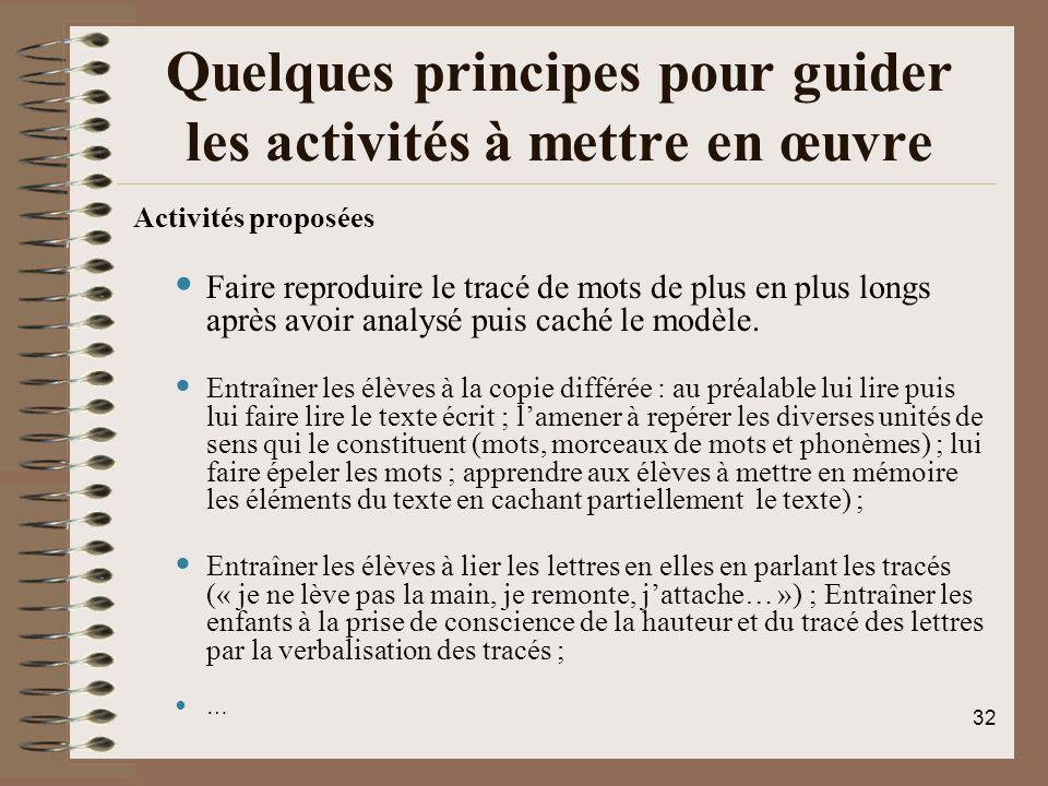 Quelques principes pour guider les activités à mettre en œuvre Activités proposées Faire reproduire le tracé de mots de plus en plus longs après avoir