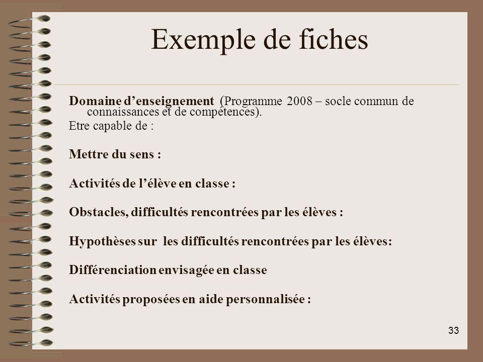 Exemple de fiches Domaine denseignement ( Programme 2008 – socle commun de connaissances et de compétences). Etre capable de : Mettre du sens : Activi