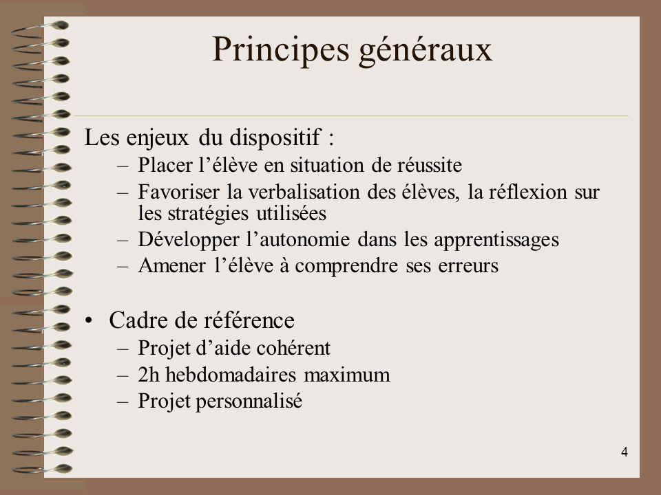 Principes généraux Les enjeux du dispositif : –Placer lélève en situation de réussite –Favoriser la verbalisation des élèves, la réflexion sur les str