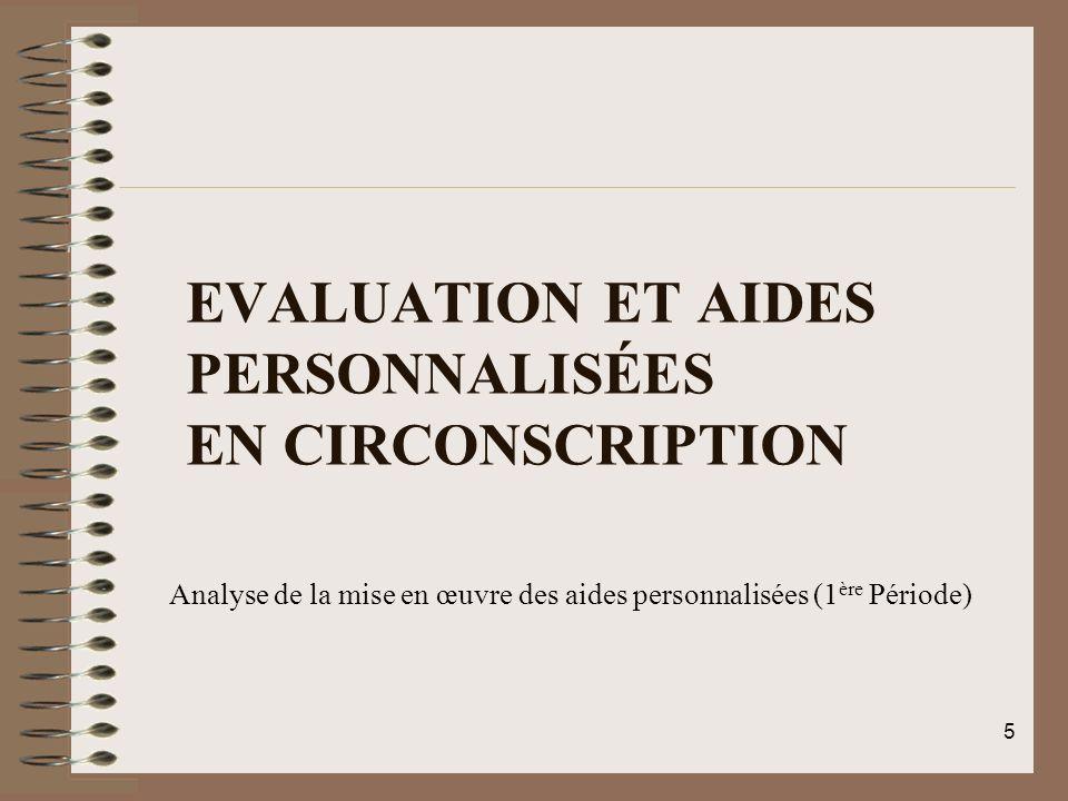 EVALUATION ET AIDES PERSONNALISÉES EN CIRCONSCRIPTION Analyse de la mise en œuvre des aides personnalisées (1 ère Période) 5