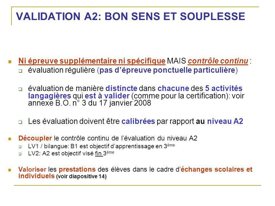 VALIDATION A2: BON SENS ET SOUPLESSE Ni épreuve supplémentaire ni spécifique MAIS contrôle continu : évaluation régulière (pas dépreuve ponctuelle par