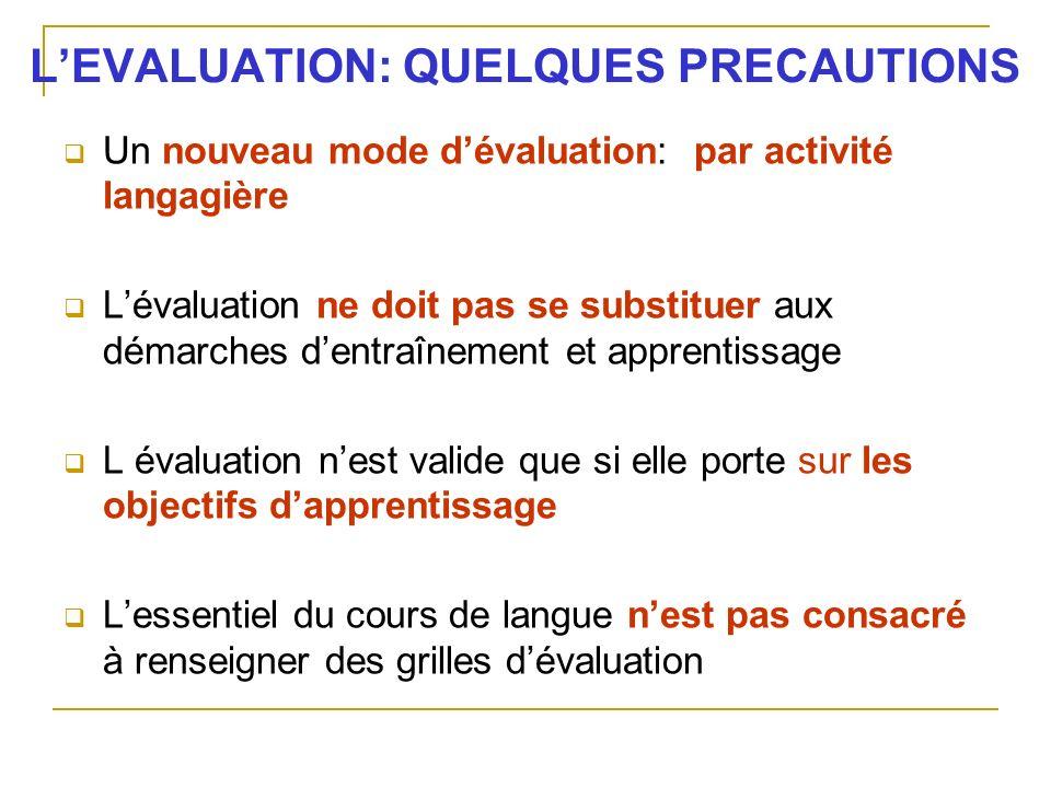 LEVALUATION: QUELQUES PRECAUTIONS Un nouveau mode dévaluation: par activité langagière Lévaluation ne doit pas se substituer aux démarches dentraîneme