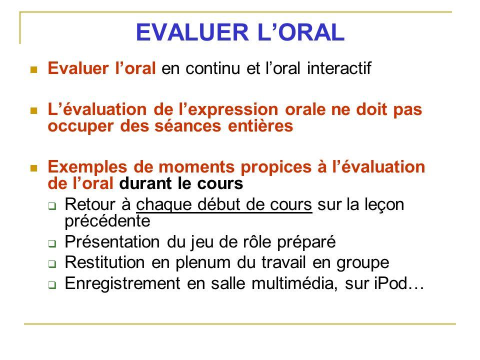 EVALUER LORAL Evaluer loral en continu et loral interactif Lévaluation de lexpression orale ne doit pas occuper des séances entières Exemples de momen