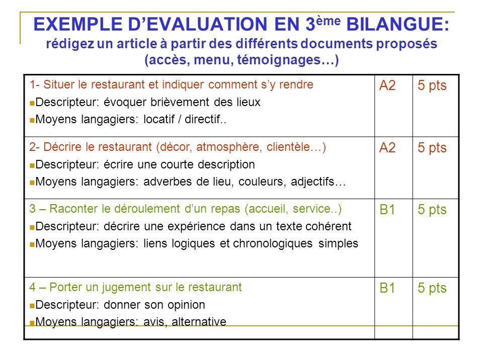 EXEMPLE DEVALUATION EN 3 ème BILANGUE: rédigez un article à partir des différents documents proposés (accès, menu, témoignages…) 1- Situer le restaura