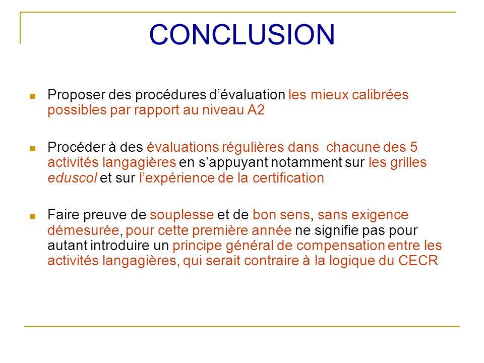 CONCLUSION Proposer des procédures dévaluation les mieux calibrées possibles par rapport au niveau A2 Procéder à des évaluations régulières dans chacu