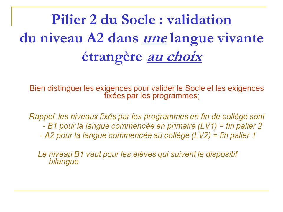 Pilier 2 du Socle : validation du niveau A2 dans une langue vivante étrangère au choix Bien distinguer les exigences pour valider le Socle et les exig