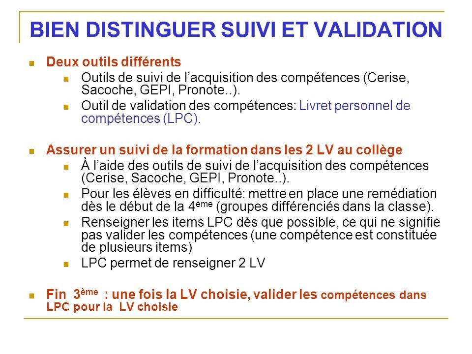 BIEN DISTINGUER SUIVI ET VALIDATION Deux outils différents Outils de suivi de lacquisition des compétences (Cerise, Sacoche, GEPI, Pronote..). Outil d
