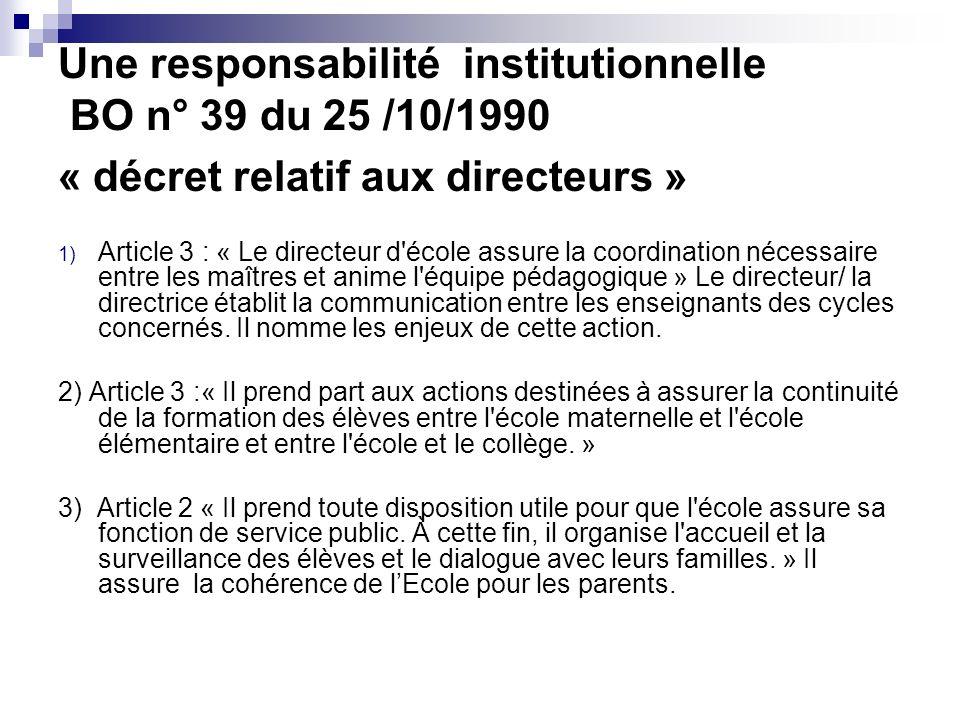 Une responsabilité institutionnelle BO n° 39 du 25 /10/1990 « décret relatif aux directeurs » 1) Article 3 : « Le directeur d'école assure la coordina