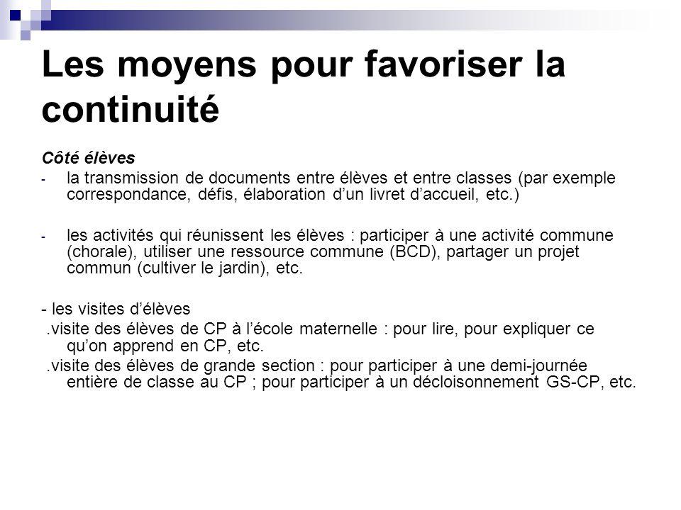 Les moyens pour favoriser la continuité Côté élèves - la transmission de documents entre élèves et entre classes (par exemple correspondance, défis, é