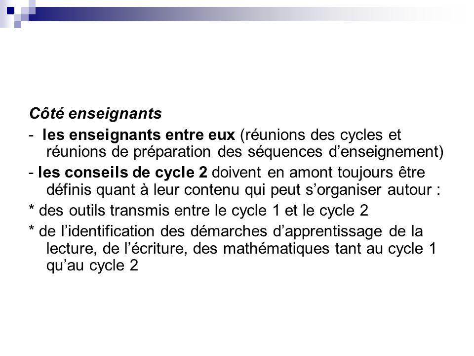Côté enseignants - les enseignants entre eux (réunions des cycles et réunions de préparation des séquences denseignement) - les conseils de cycle 2 do